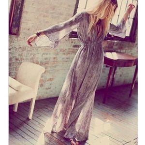 LoveShackFancy Watersnake Georgette Long Sleeve Maxi Dress